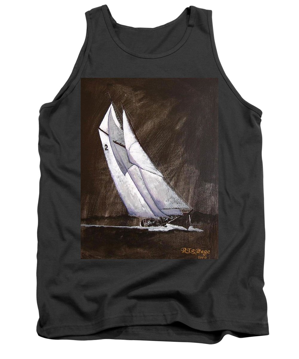Bluenose Tank Top featuring the painting Bluenose At Night Coming by Richard Le Page