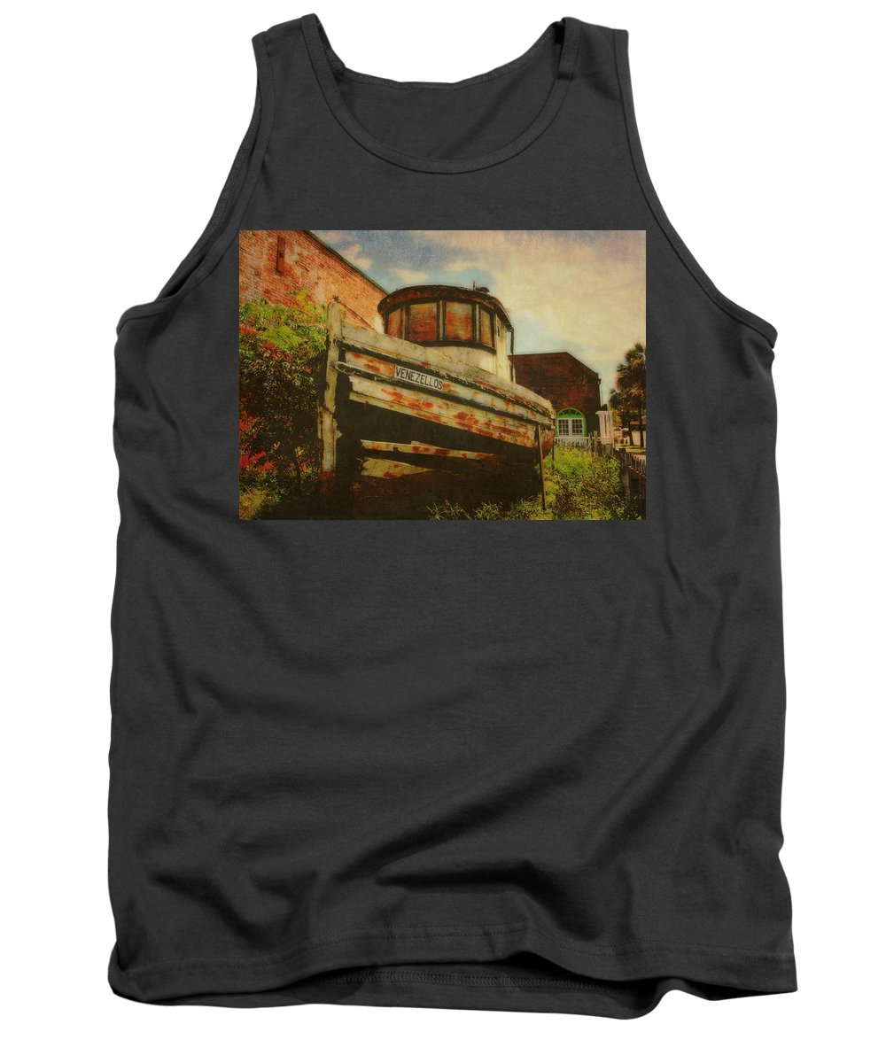 Boat Tank Top featuring the photograph Boat At Apalachicola by Toni Hopper