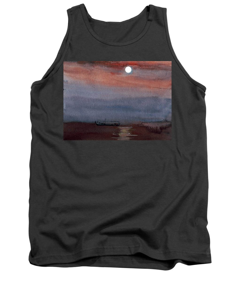 Seascape Tank Top featuring the painting Boat In The Moon by Anil Nene
