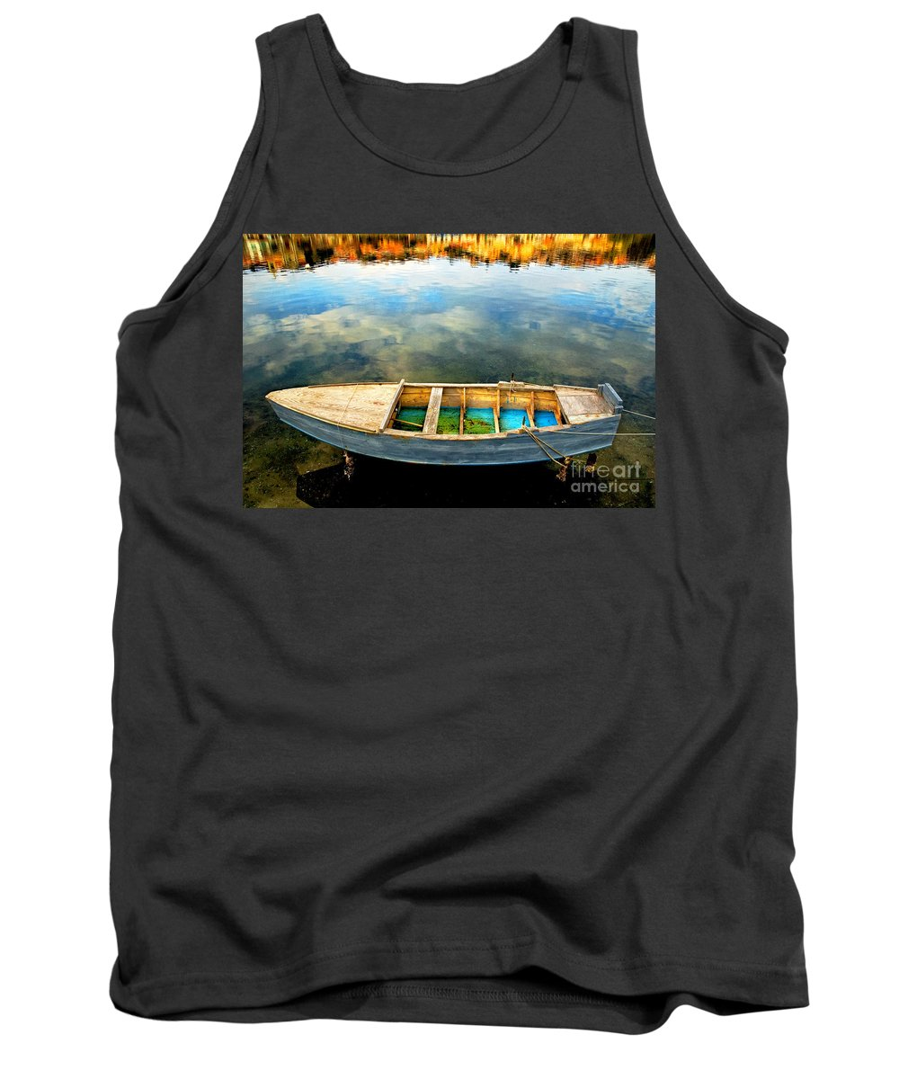 Boat Tank Top featuring the photograph Boat On Lake by Silvia Ganora