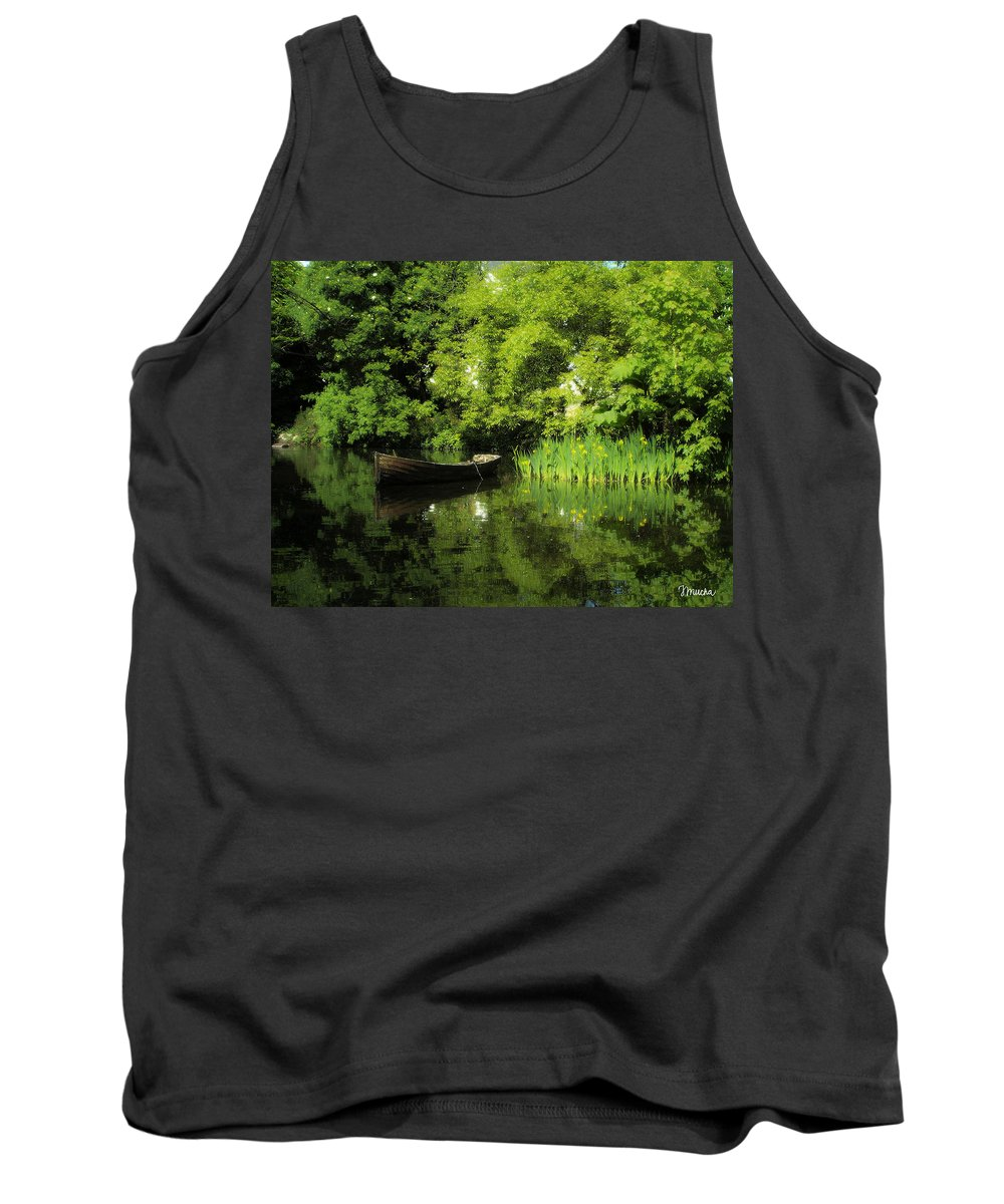 Irish Tank Top featuring the digital art Boat Reflected On Water County Clare Ireland Painting by Teresa Mucha