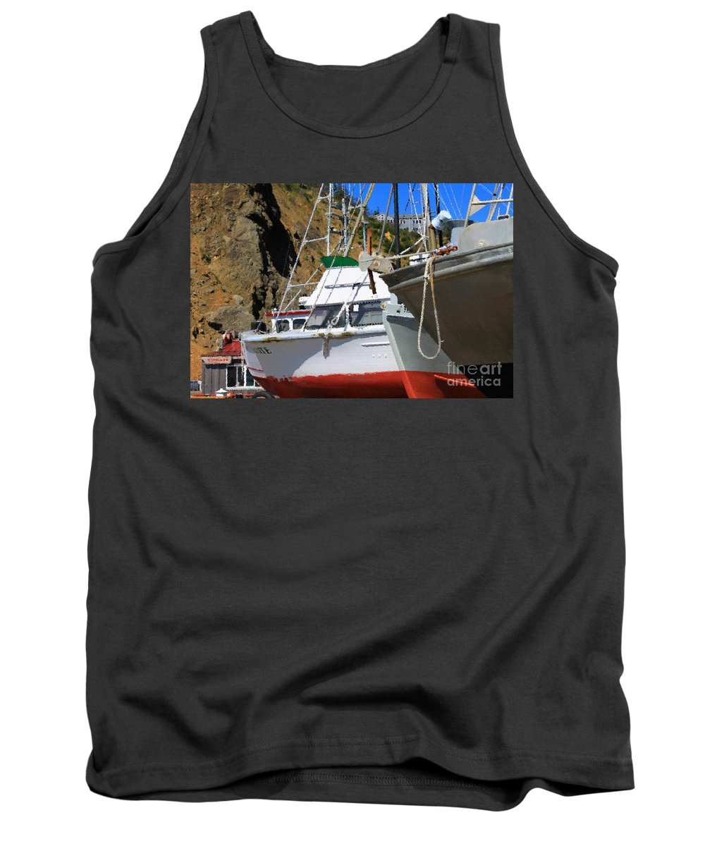 Anchor Tank Top featuring the photograph Boats In Drydock by James Eddy