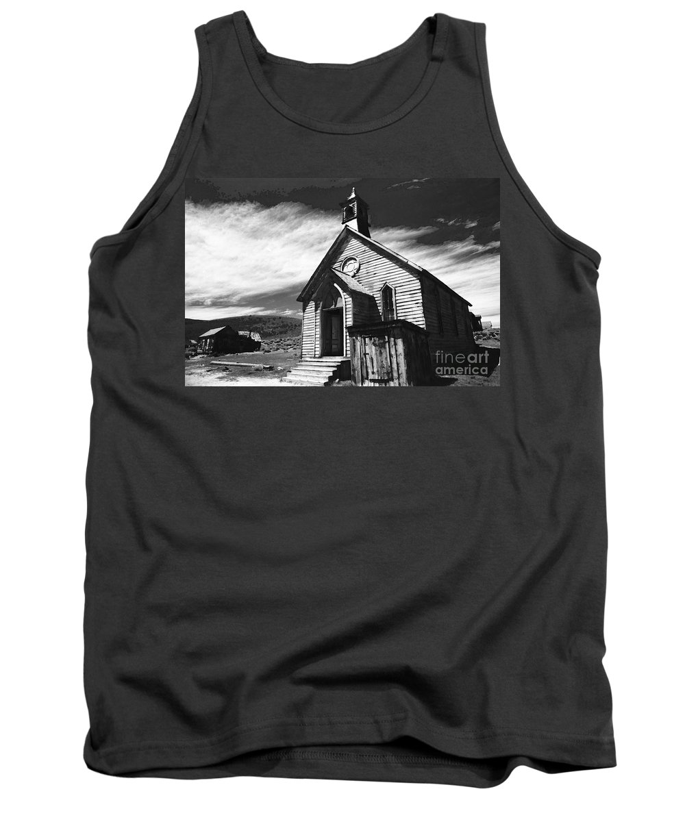 California History Tank Top featuring the photograph Bodie Church 1977 by Norman Andrus