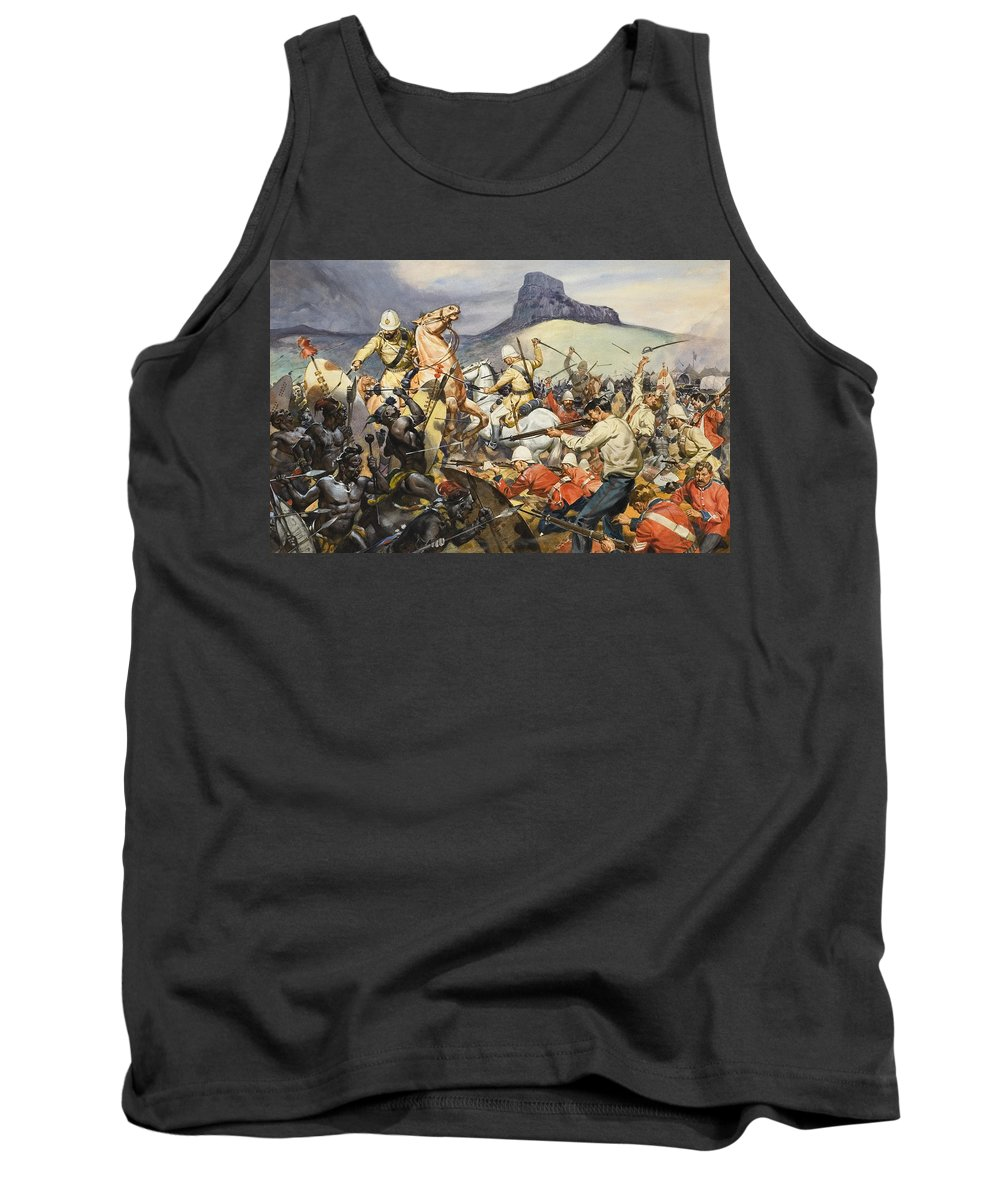 Native; South Africa; Dutch; Farmer; Fight; Combat; Attack; Soldier; Uniform; Sword; Shield; Cavalry; Mountain; Tribe; Gun; Shoot; Kill; Fighting; Pith Helmet; Children's Illustration; Afrikaans; Afrikaaners; C19th; African; Africans Tank Top featuring the painting Boers And Natives by James Edwin McConnell