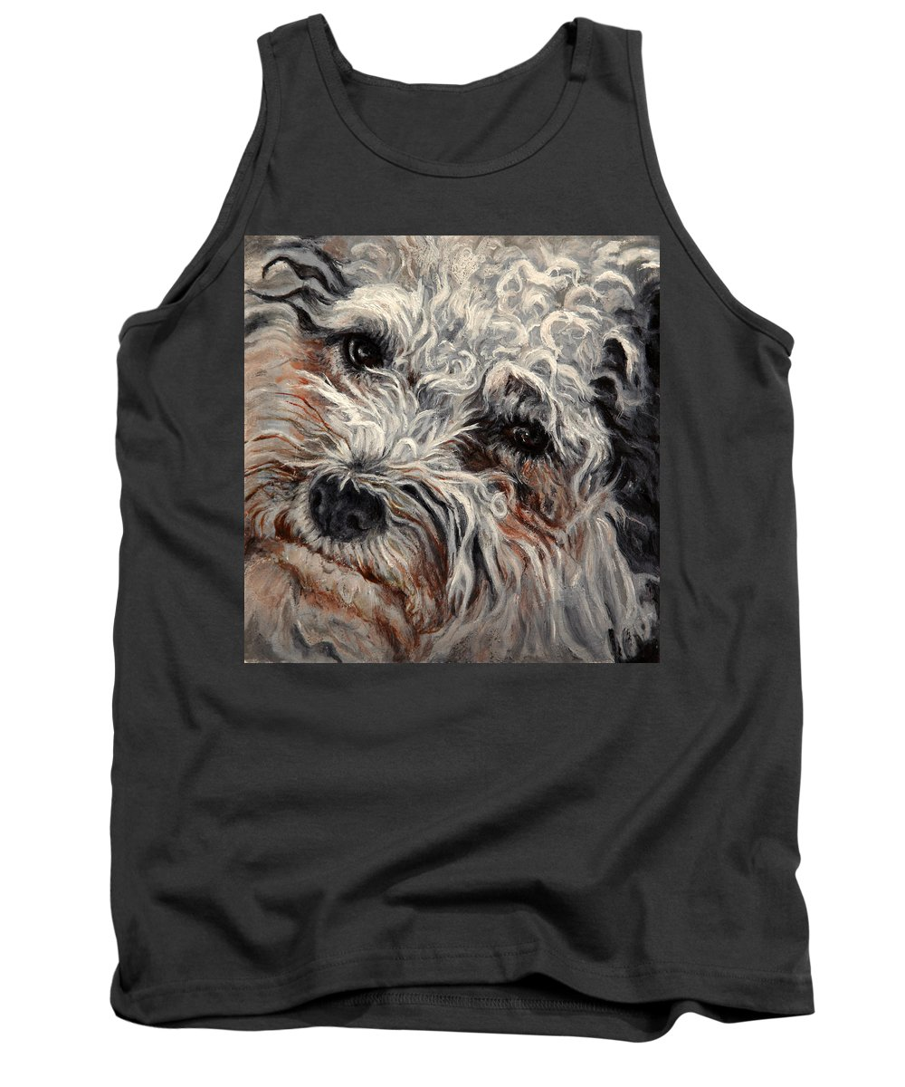 Pets Tank Top featuring the painting Bolognese Breed by Portraits By NC
