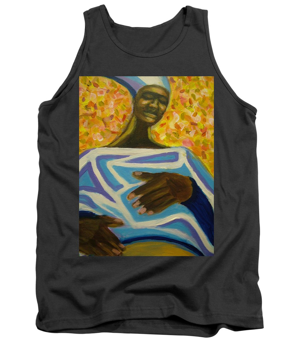 Painting Tank Top featuring the painting Bongo Man II by Jan Gilmore
