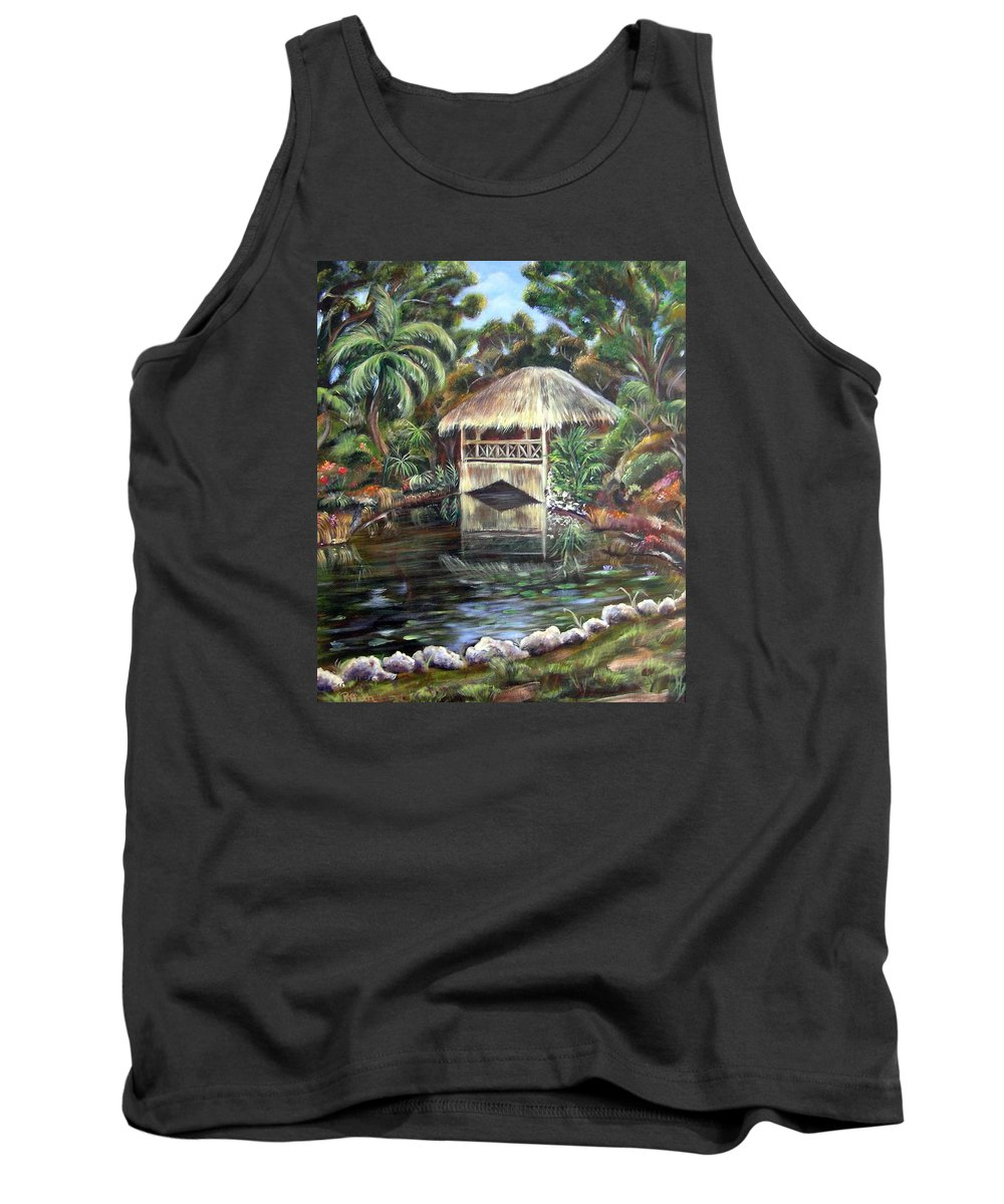 Bonnet House Tank Top featuring the painting Bonnet House Chickee by Patricia Piffath