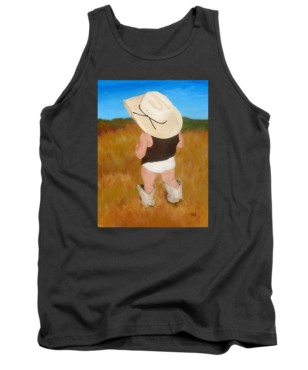 Cowboy Tank Top featuring the painting Boots And Skivvies by Katie Monzel
