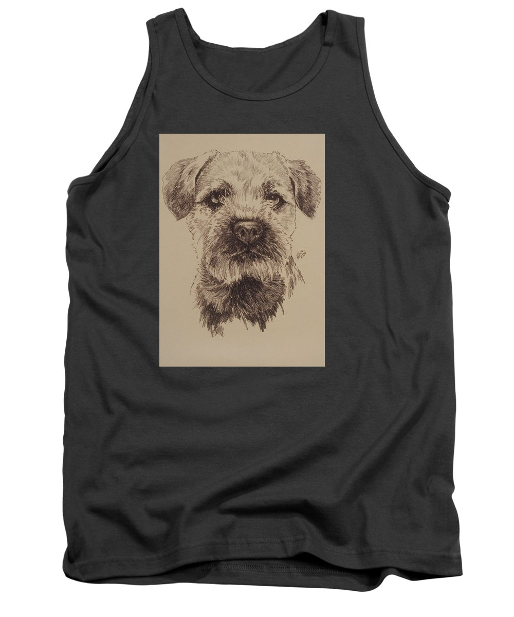 Art Tank Top featuring the drawing Border Terrier by Barbara Keith