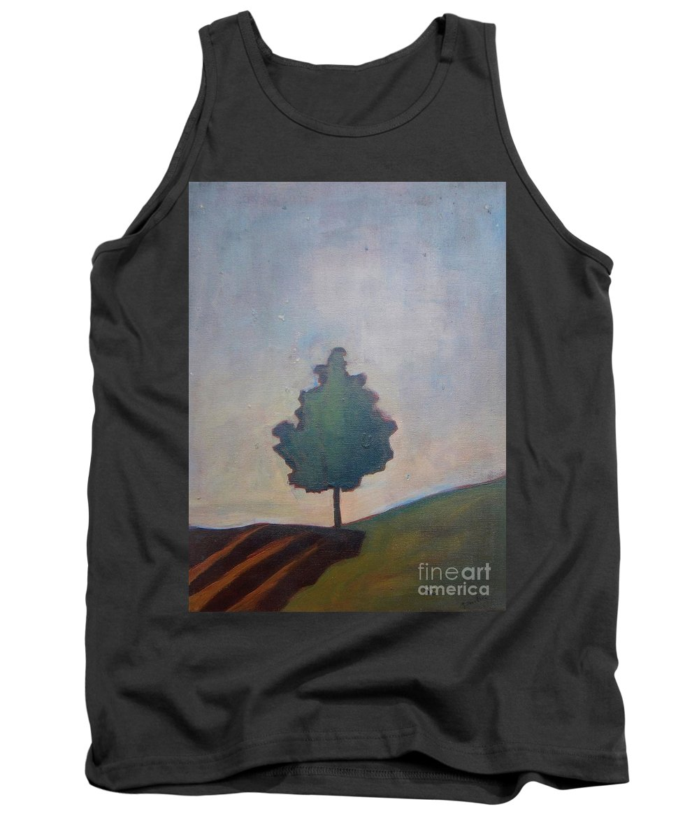 Tree Tank Top featuring the painting Bordering Tree by Vesna Antic