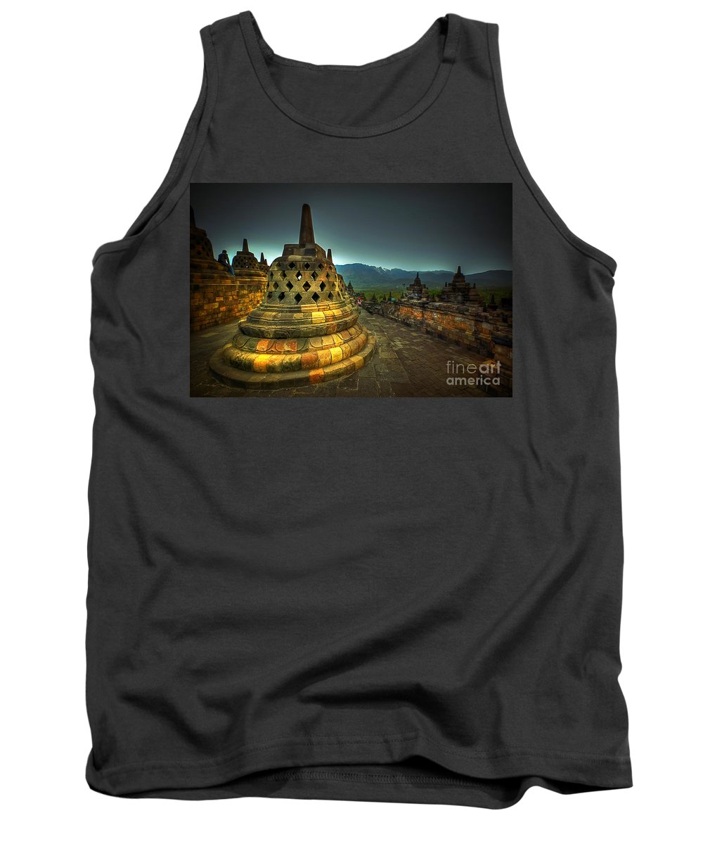 Borobudur Temple Tank Top featuring the photograph Borobudur Temple Central Java by Charuhas Images