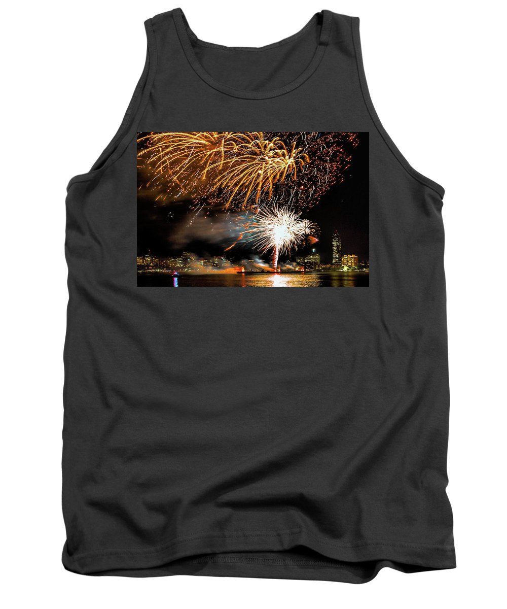 Boston Ma Tank Top featuring the photograph Boston Fireworks On The Charles by Larry Richardson