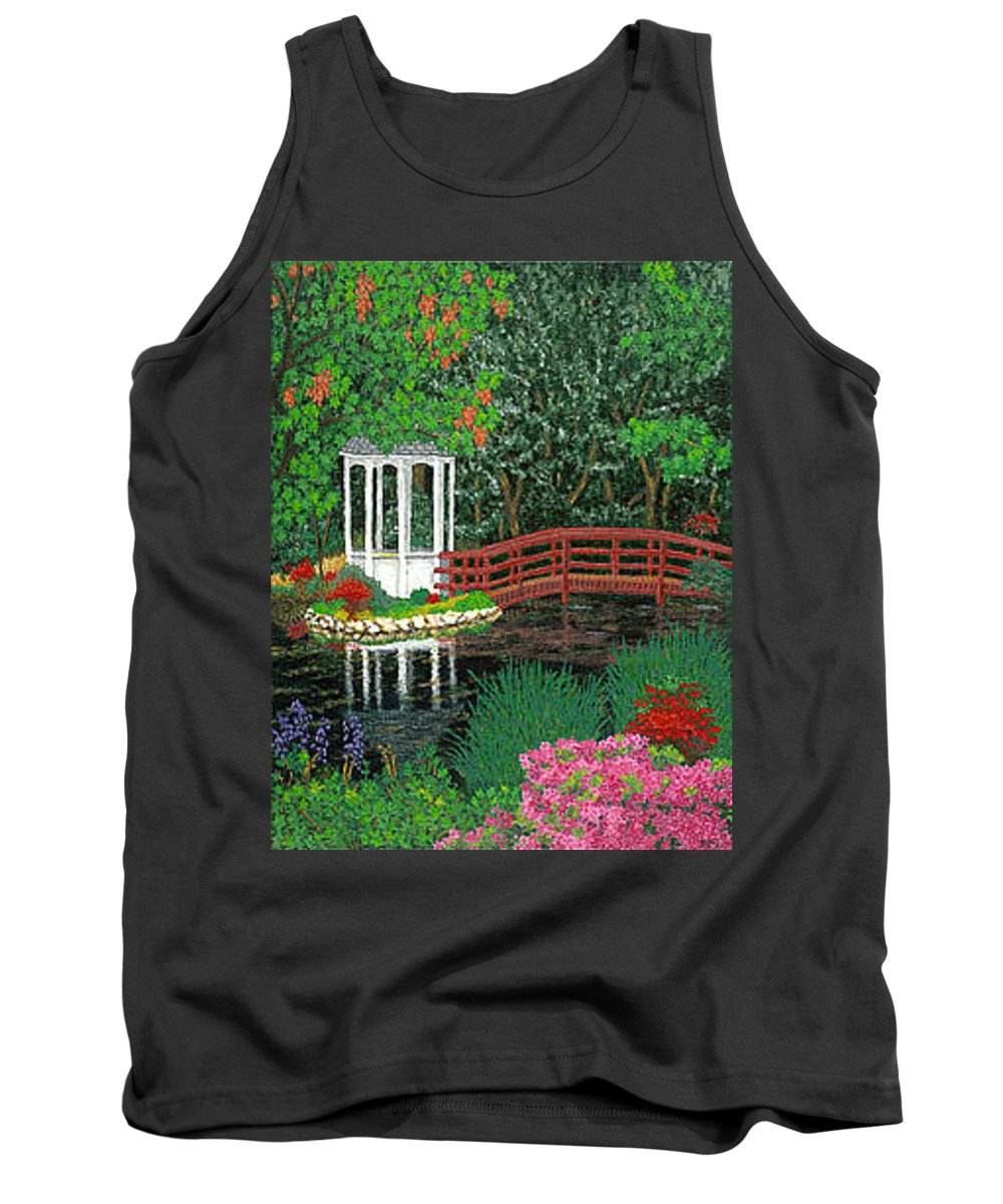 Art Tank Top featuring the painting Botanical Garden Park Walk Pink Azaleas Bridge Gazebo Flowering Trees Pond by Baslee Troutman
