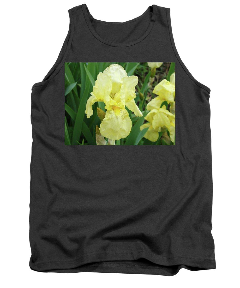 Iris Tank Top featuring the photograph Botanical Yellow Iris Flower Summer Floral Art Baslee Troutman by Baslee Troutman