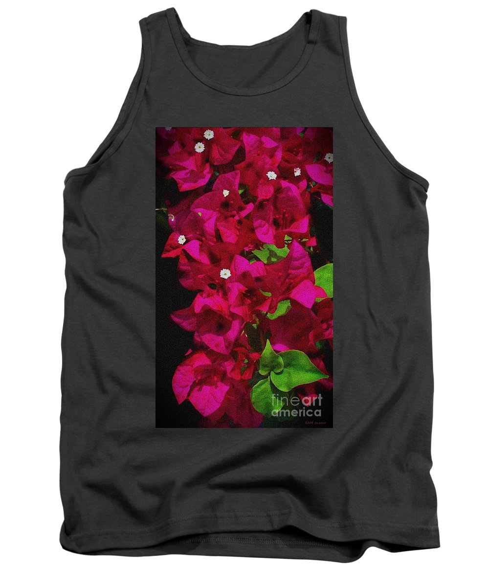 Bougainvillea Tank Top featuring the digital art Bougainvillea / Textured by Elizabeth McTaggart