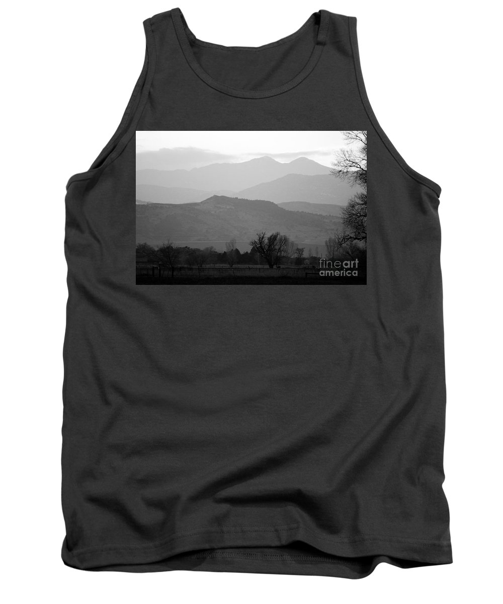 Foothills Tank Top featuring the photograph Boulder County Foothills To The Rockies Bw by James BO Insogna