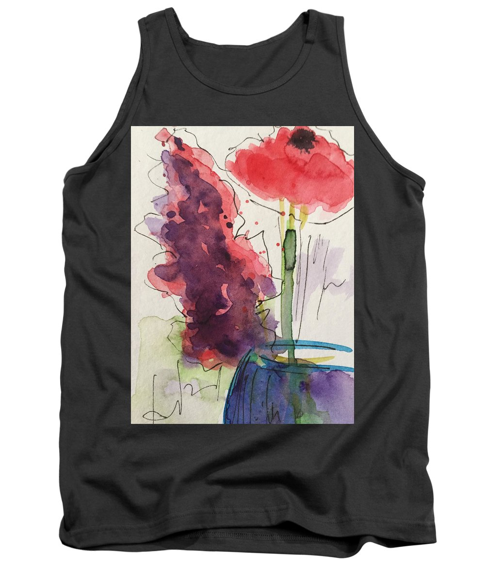Bouquet Tank Top featuring the painting Bouquet Abstract 1 by Britta Zehm
