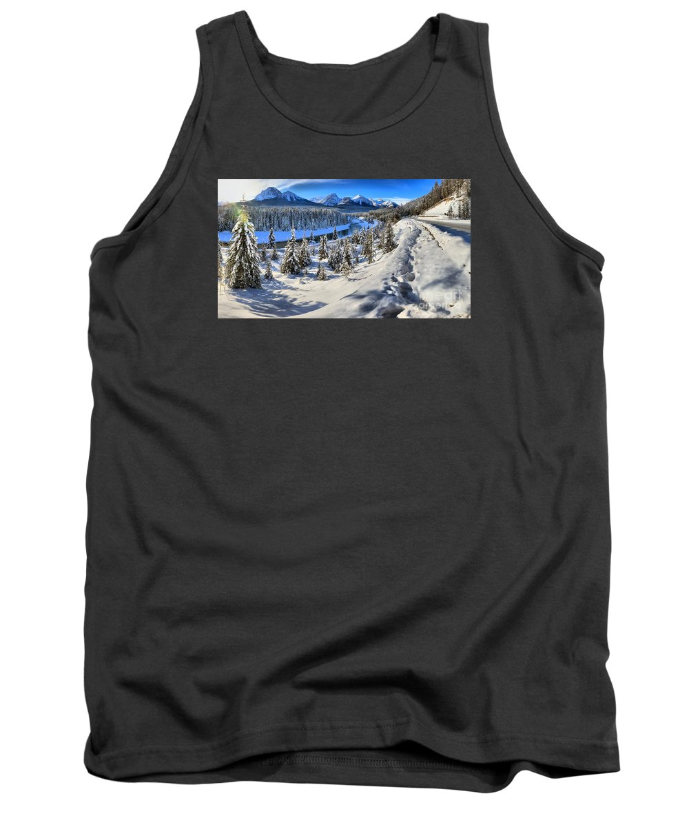 Morant Tank Top featuring the photograph Bow Valley Mountains by Adam Jewell