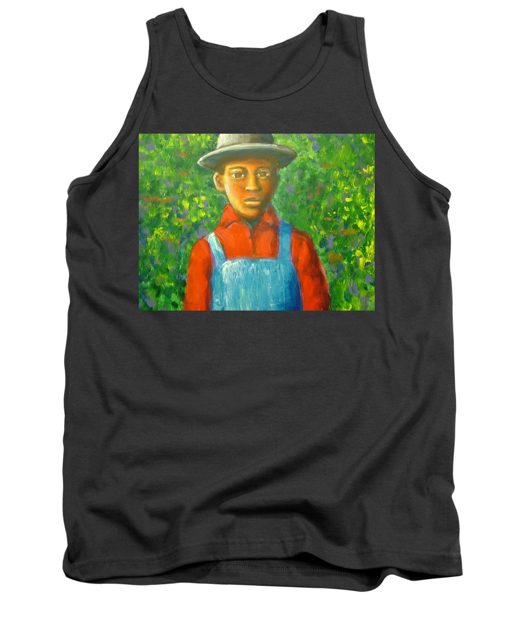 Painting Tank Top featuring the painting 'boy In The Woods' by Jan Gilmore