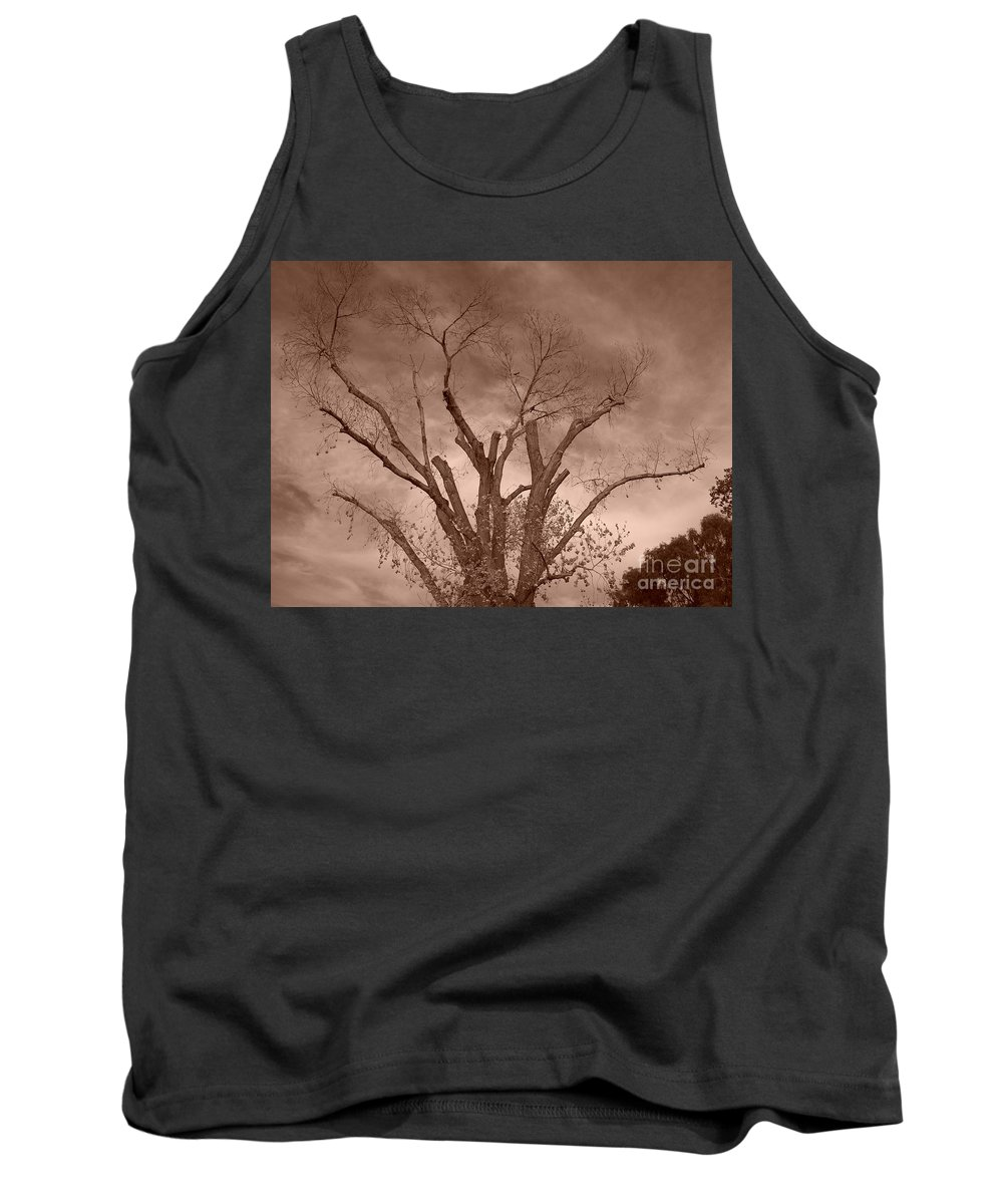 Sepia Tank Top featuring the photograph Branches Against Sepia Sky H  by Heather Kirk