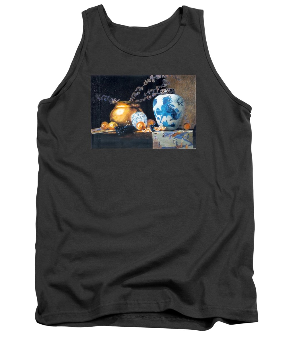 Still Life Tank Top featuring the painting Brass Pot With White And Blue Vase by Keith Nolan