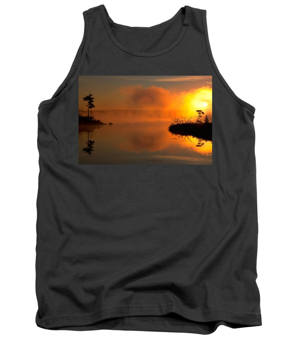 Misty Lake Tank Top featuring the photograph Breaking Mists by Irwin Barrett