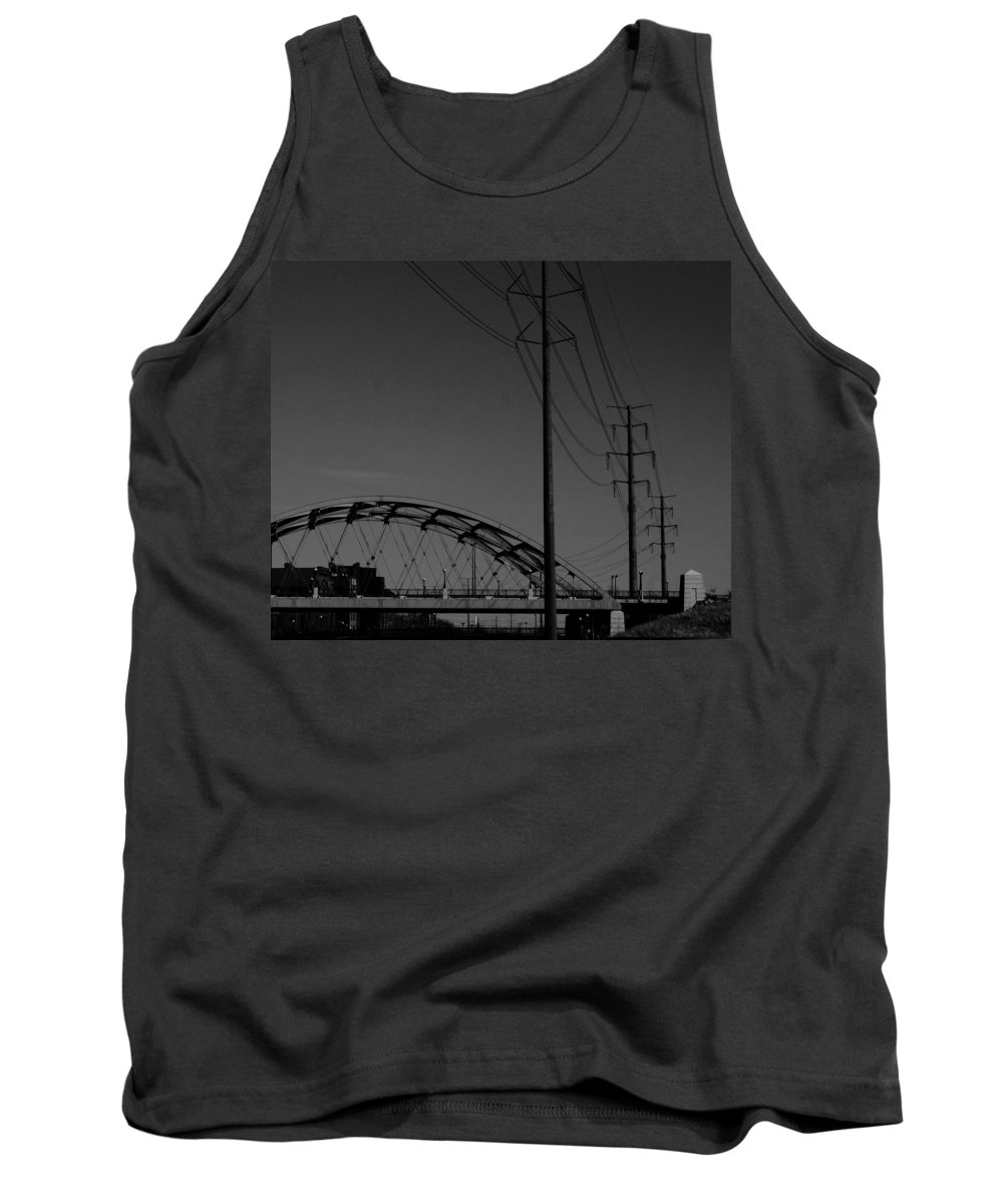 Metal Structures Tank Top featuring the photograph Bridge And Power Poles At Dusk by Angus Hooper Iii