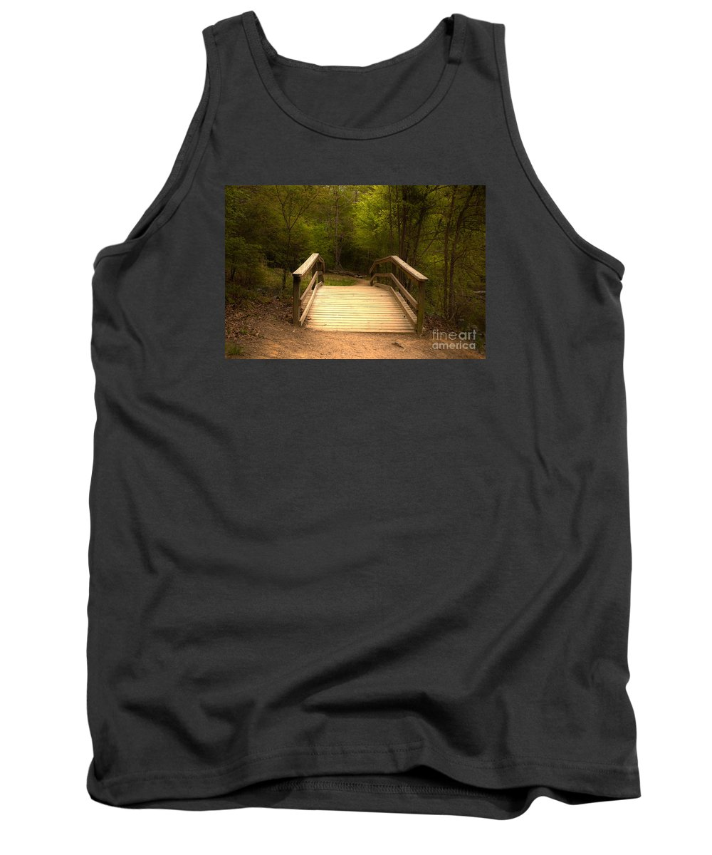 Bridge Tank Top featuring the photograph Bridge In The Woods by Sarah Johnson