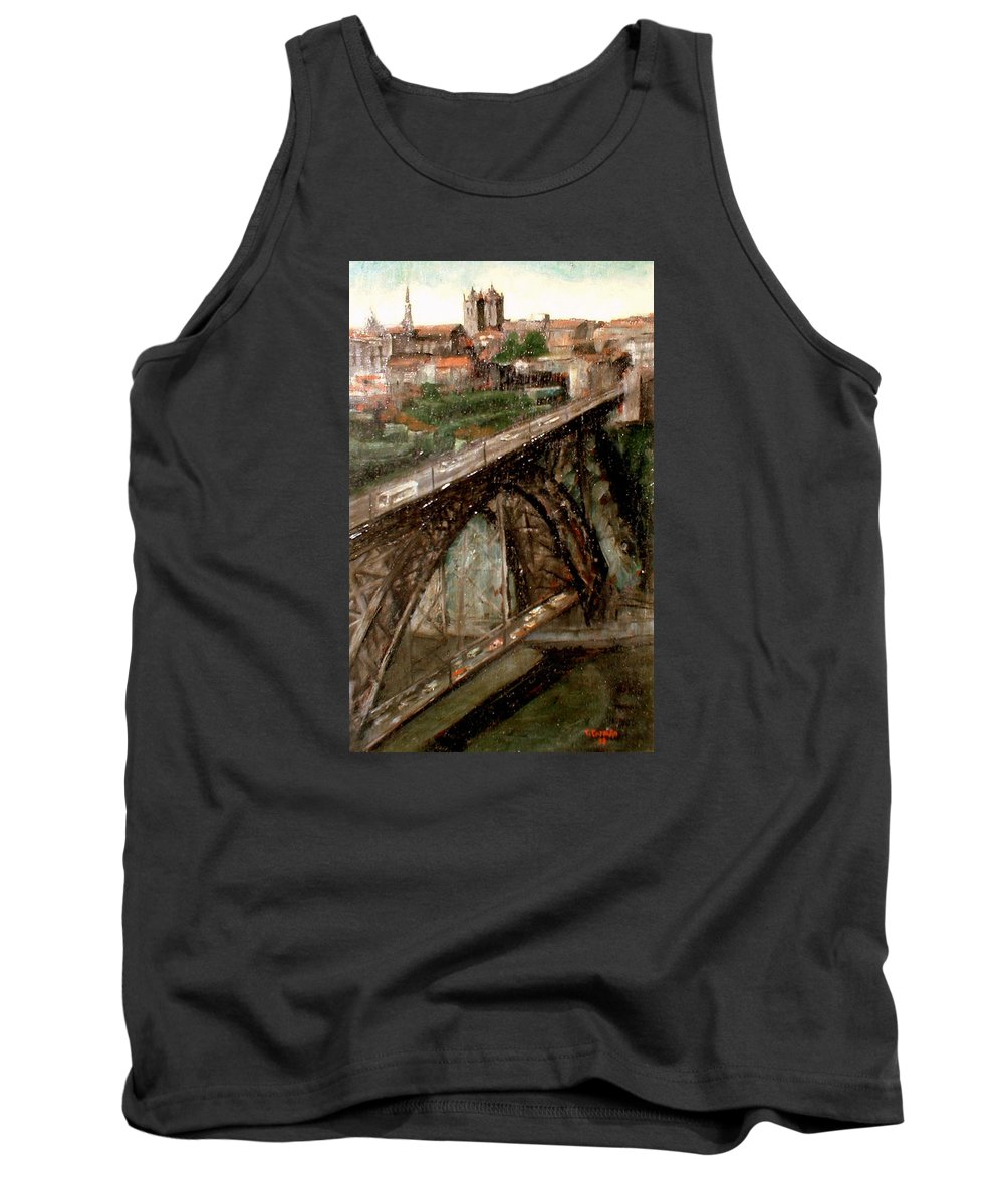 Porto Tank Top featuring the painting Bridge Luis I-Oporto by Tomas Castano