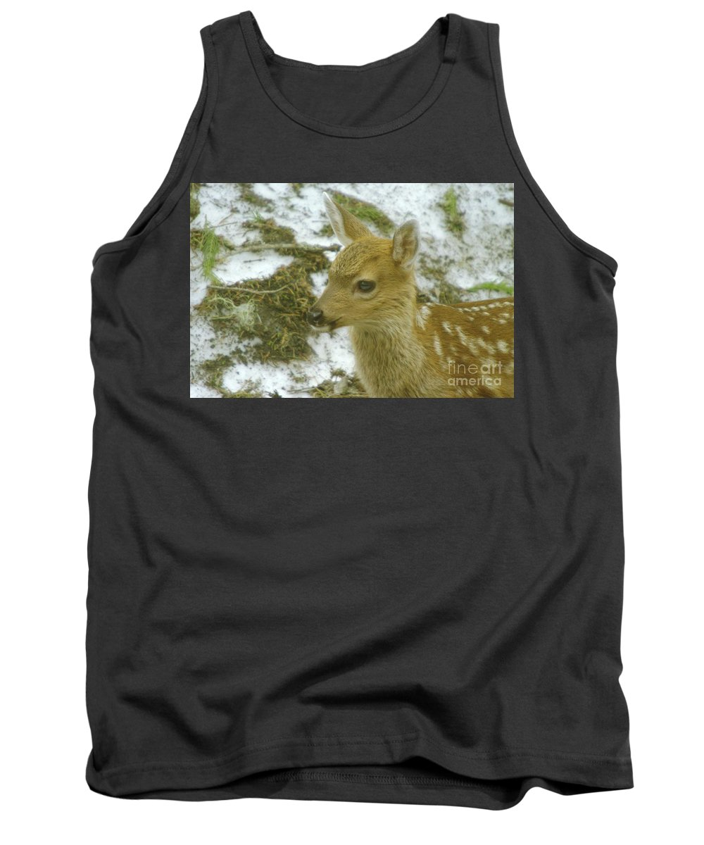 Deer. Fawn Tank Top featuring the photograph Bright Eyes by Jeff Swan