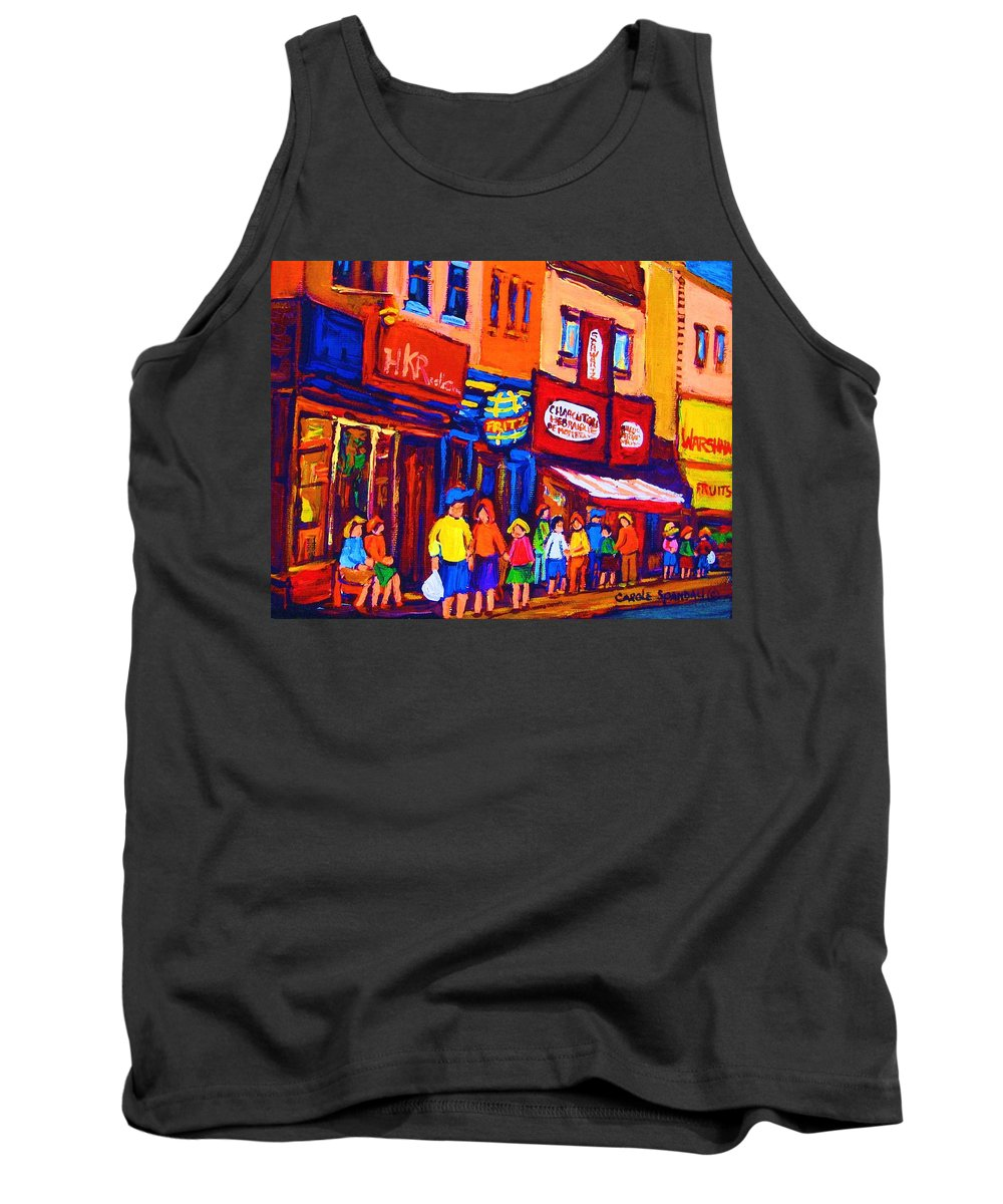 Schwartz's Hebrew Deli Tank Top featuring the painting Bright Lights On The Main by Carole Spandau