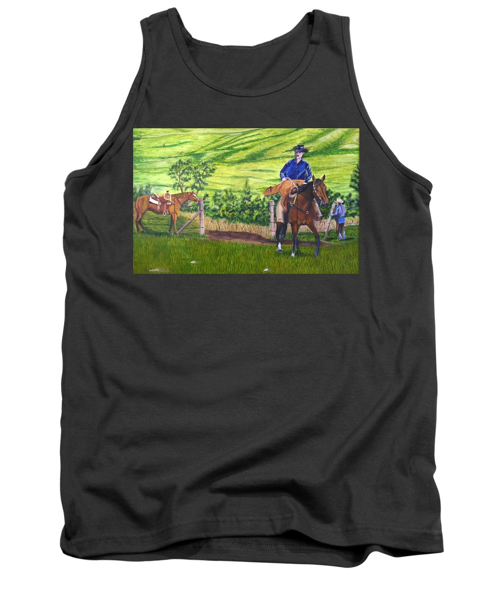 Cowboy Tank Top featuring the painting Bringin by Mendy Pedersen