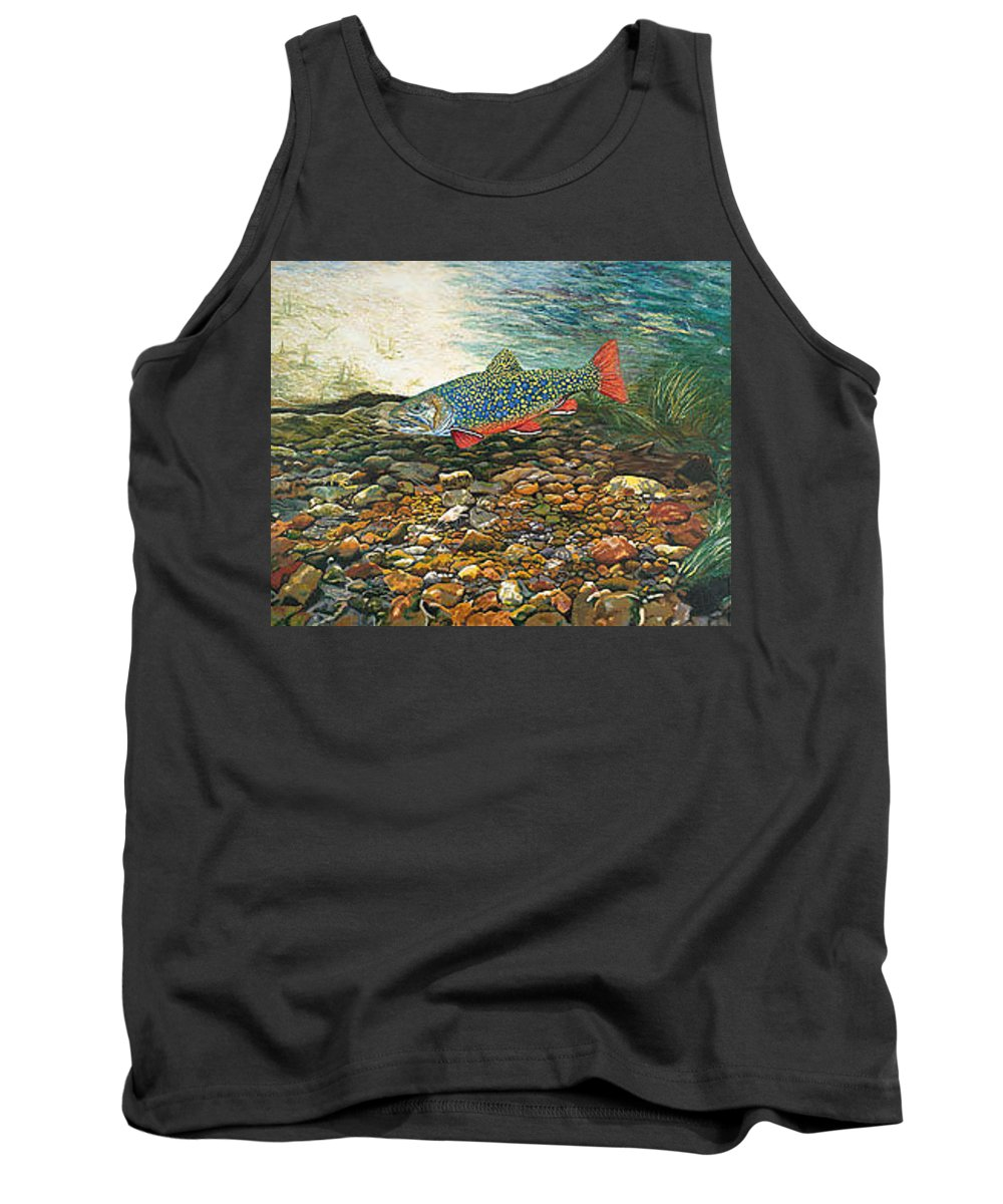 Nature Tank Top featuring the painting Brook Trout Art Fish Art Nature Wildlife Underwater by Baslee Troutman