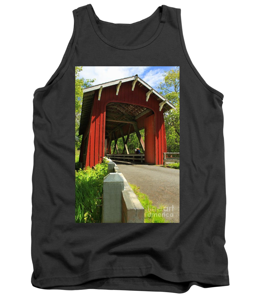 Covered Bridge Tank Top featuring the photograph Brookwood Covered Bridge by James Eddy