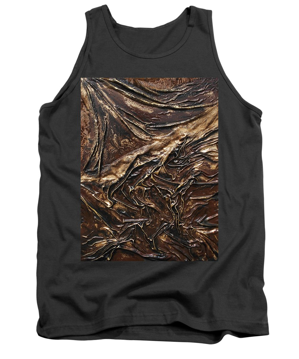 Sculpted Art Tank Top featuring the mixed media Brown Lace by Angela Stout