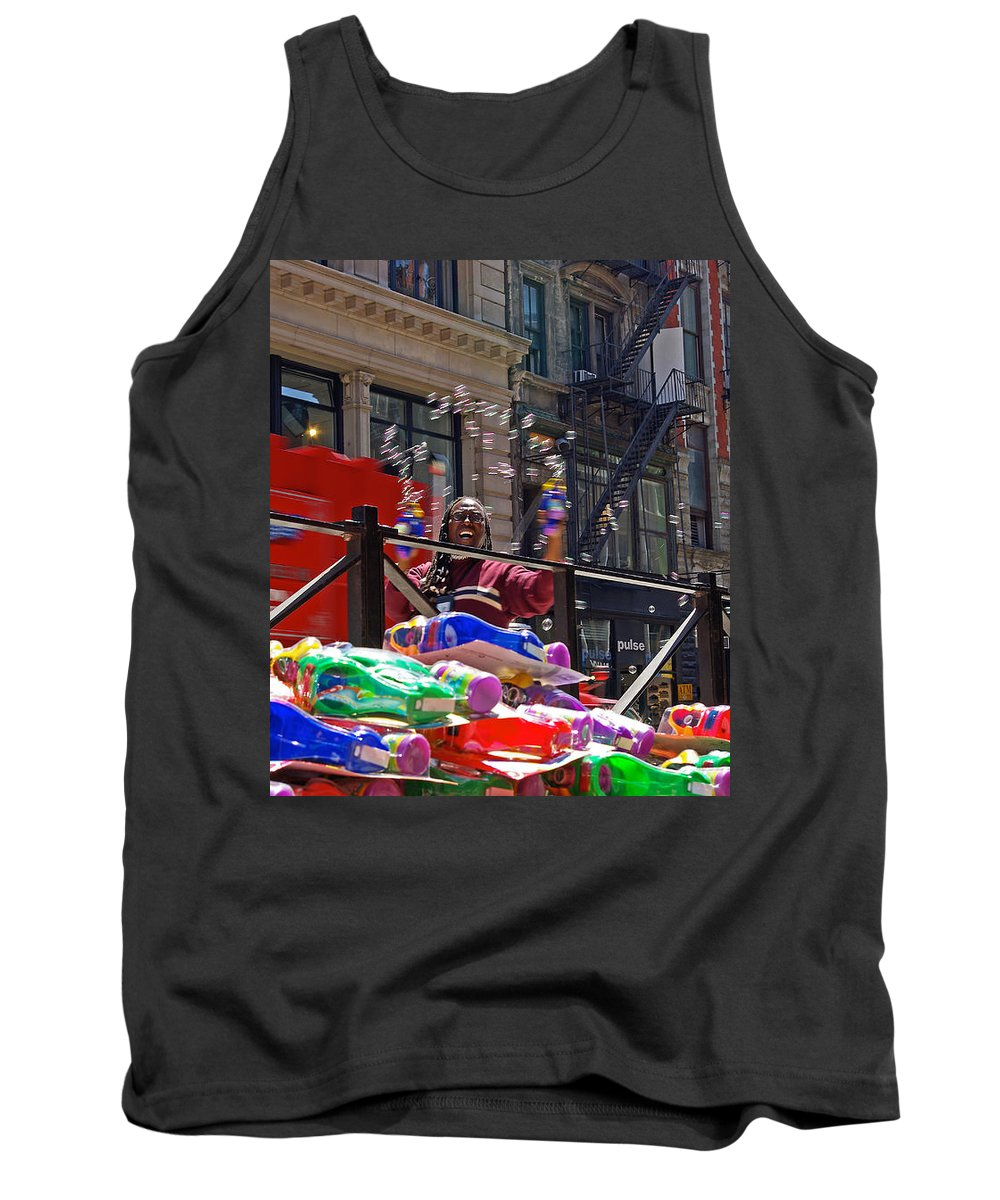 Bubbles Tank Top featuring the photograph Bubble Gun Seller In New York by Zal Latzkovich