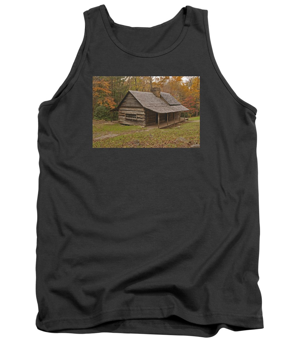 Smoky Mountains Tank Top featuring the photograph Bud Ogle Cabin Fall by Harold Stinnette