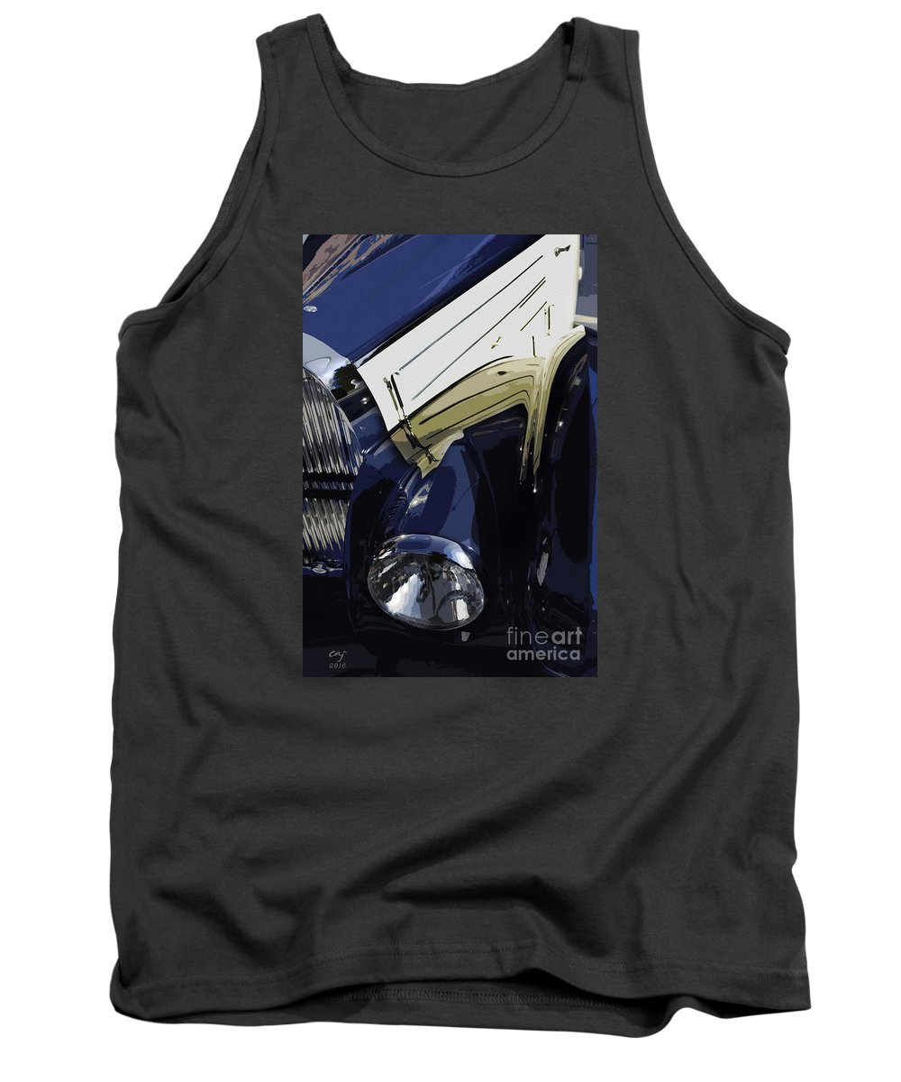 Bugatti Tank Top featuring the photograph Bugatti Type 57 In Blue And White by Curt Johnson