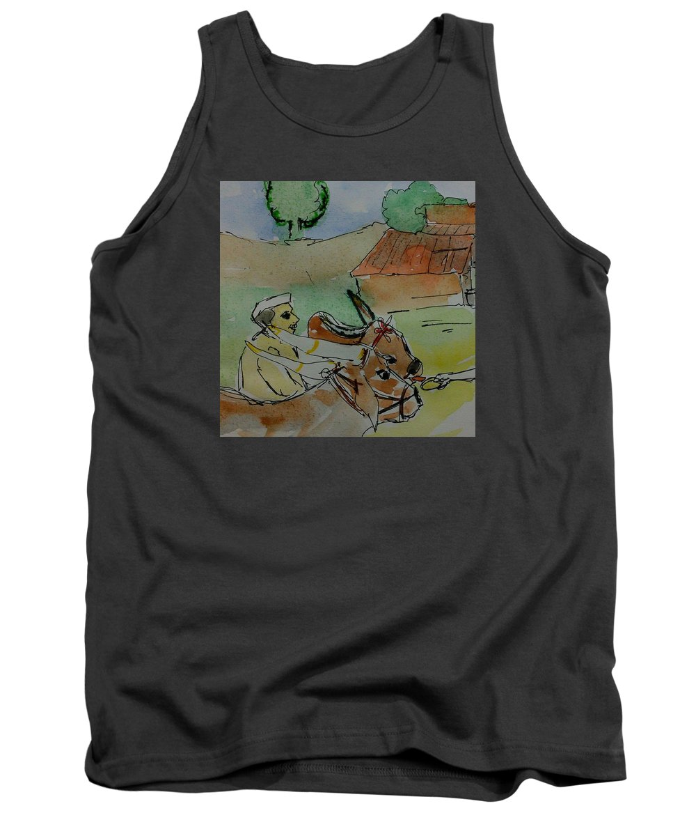 Bull's #farmer#village#hut#food# Hand#tree#nature Tank Top featuring the painting Bull's by Vineeth Menon