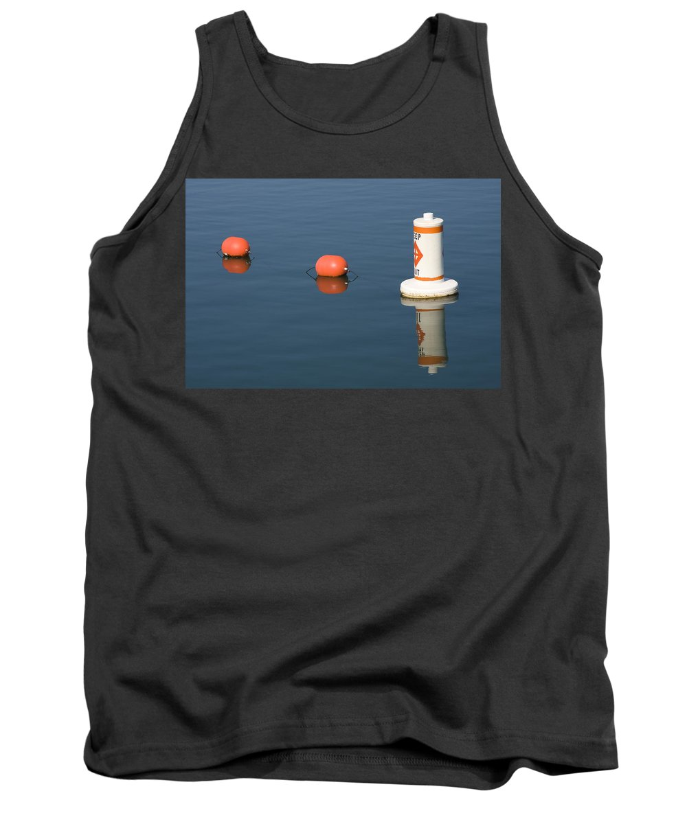 Chicago Windy City Buoy Water Lake Michigan Blue Reflection Mirror Orange Tank Top featuring the photograph Buoy by Andrei Shliakhau