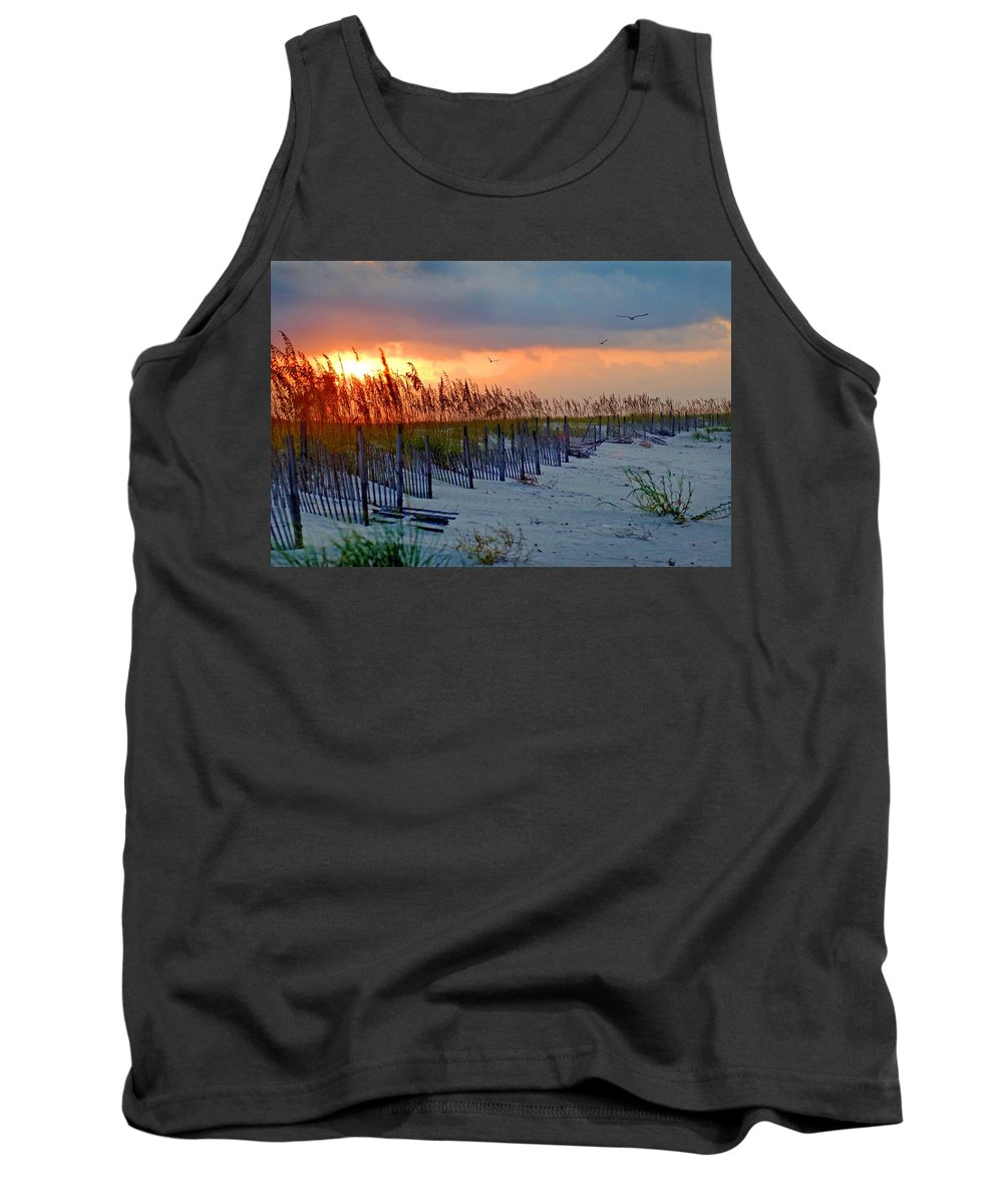 Pelican Tank Top featuring the painting Burning Grasses And The Fence by Michael Thomas