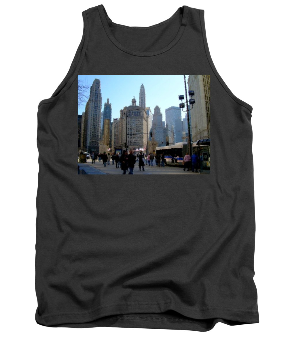 Archtecture Tank Top featuring the digital art Bus On Miracle Mile by Anita Burgermeister