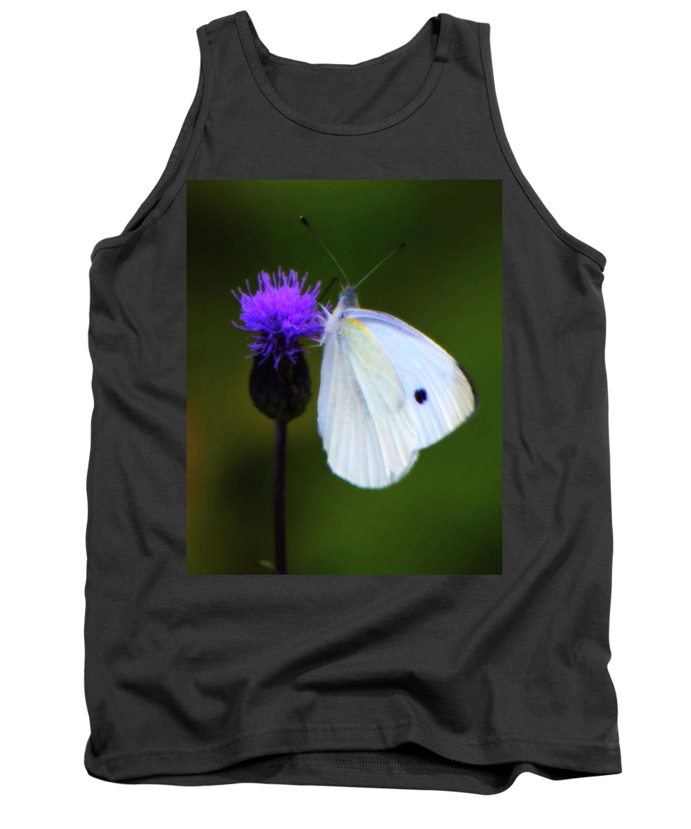 White Tank Top featuring the photograph Butterfly In White by John Feiser