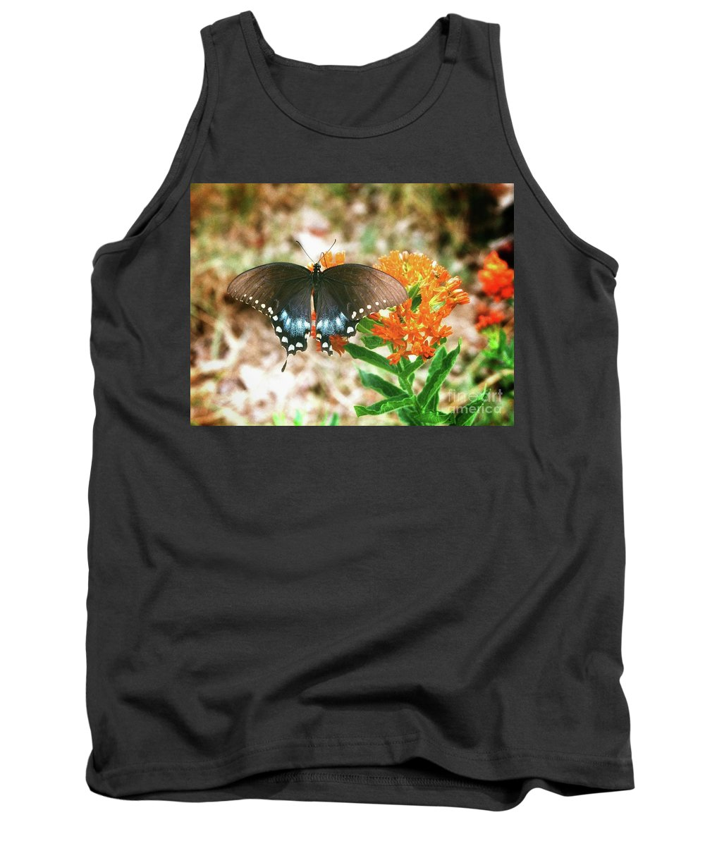 Black Butterfly On Weed Plant Tank Top featuring the photograph Butterfly by John Myers