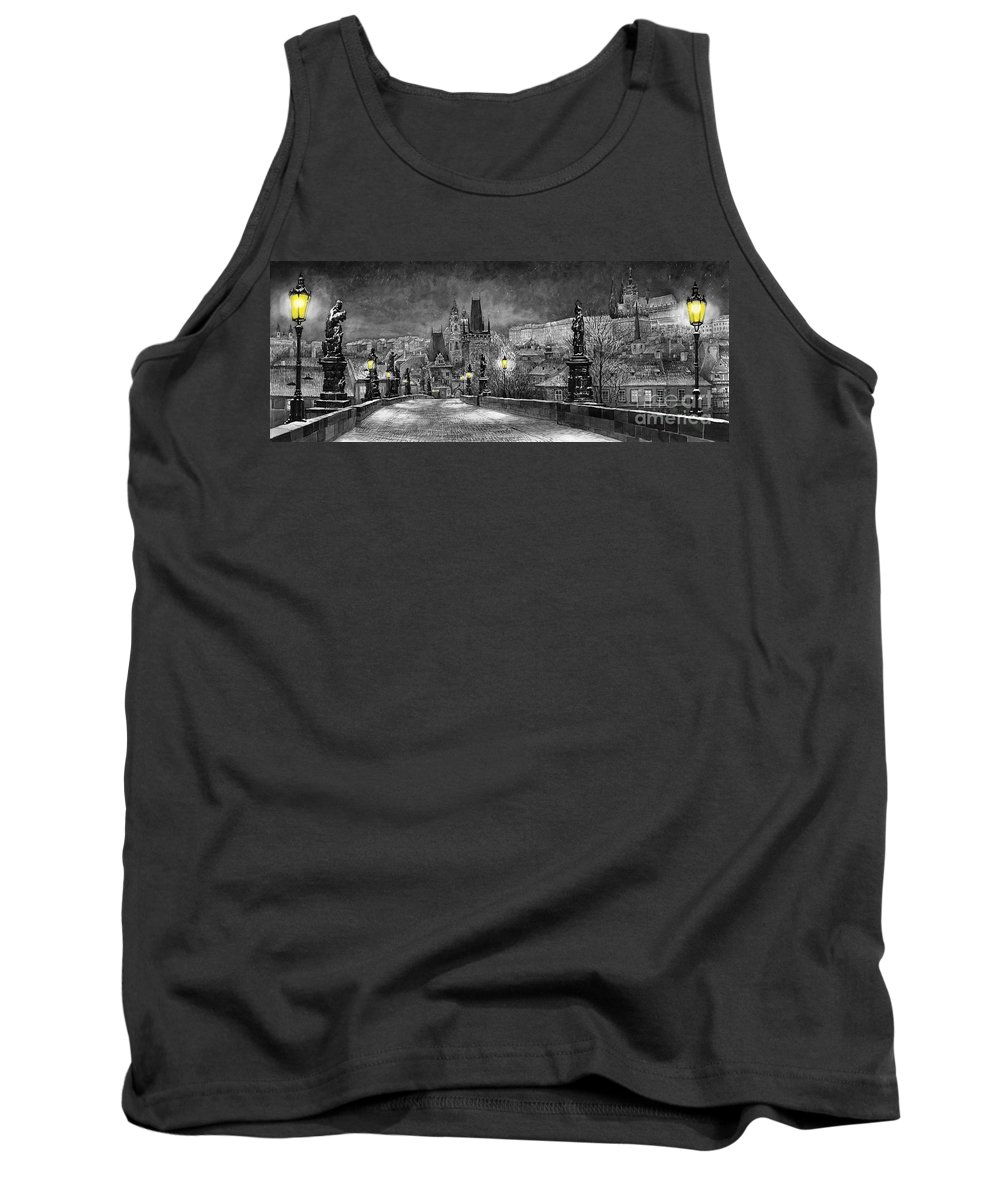 Prague Tank Top featuring the painting Bw Prague Charles Bridge 06 by Yuriy Shevchuk