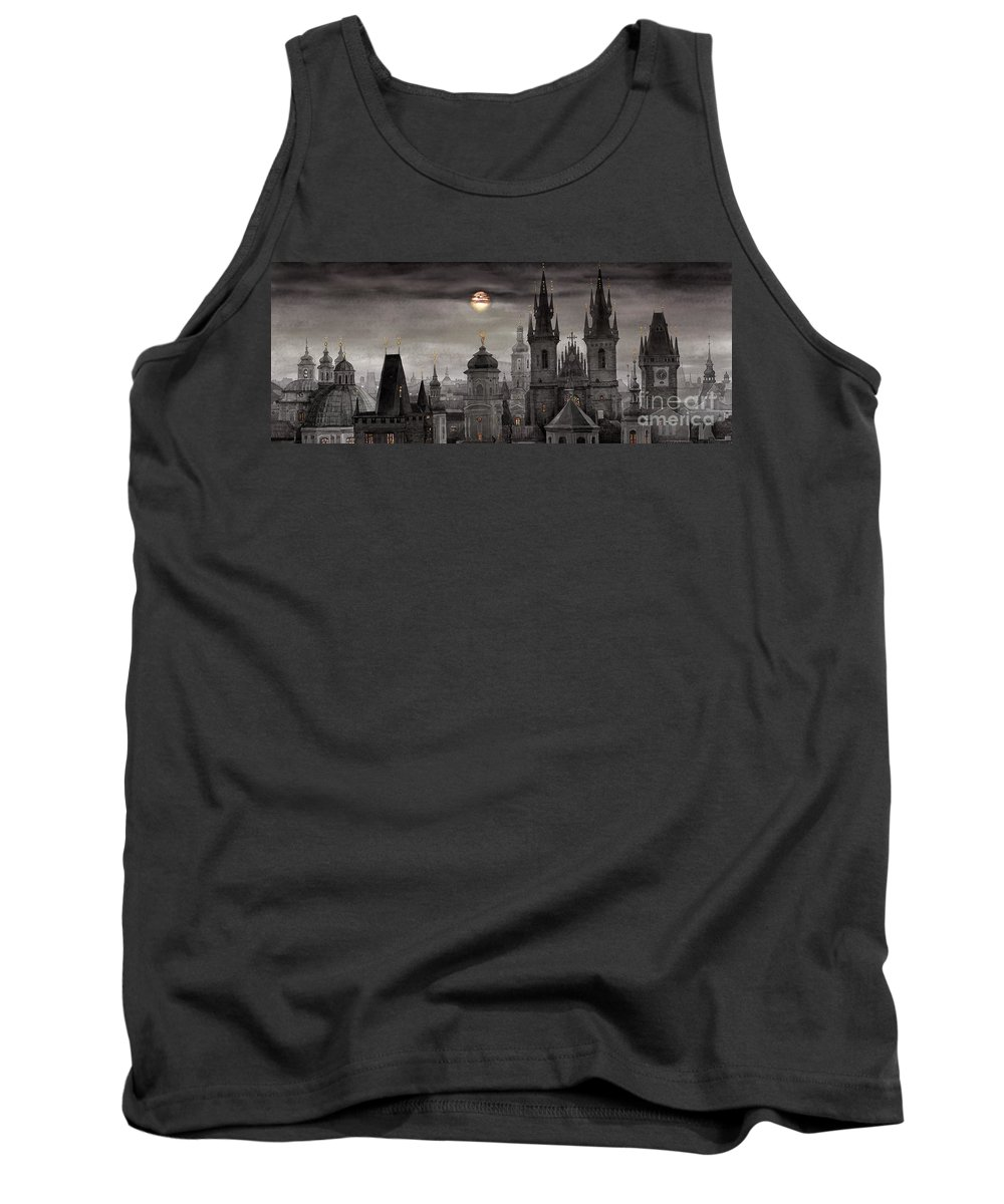 Cityscape Tank Top featuring the painting Bw Prague City Of Hundres Spiers by Yuriy Shevchuk