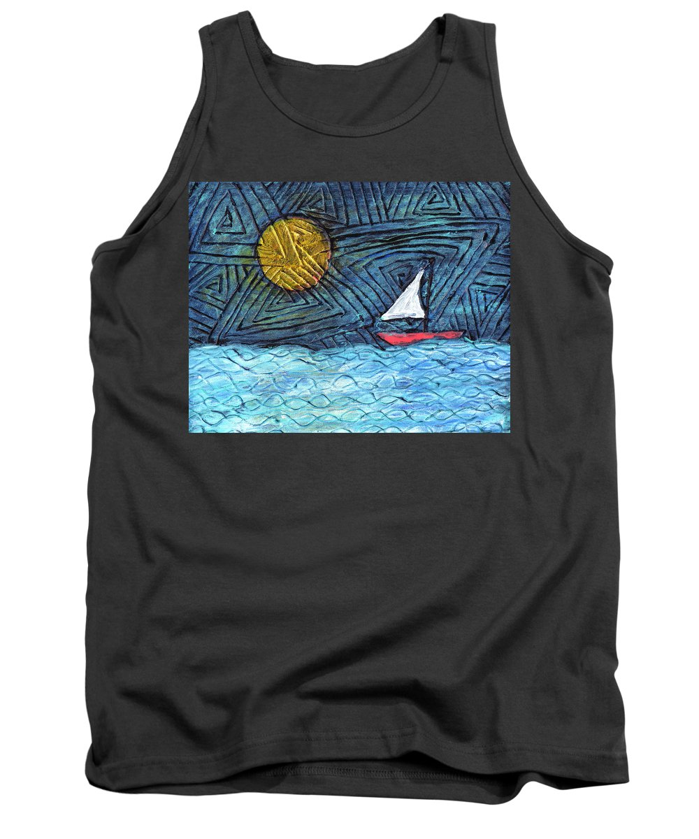 Sail Boat Tank Top featuring the painting By The Light Of The Moon by Wayne Potrafka
