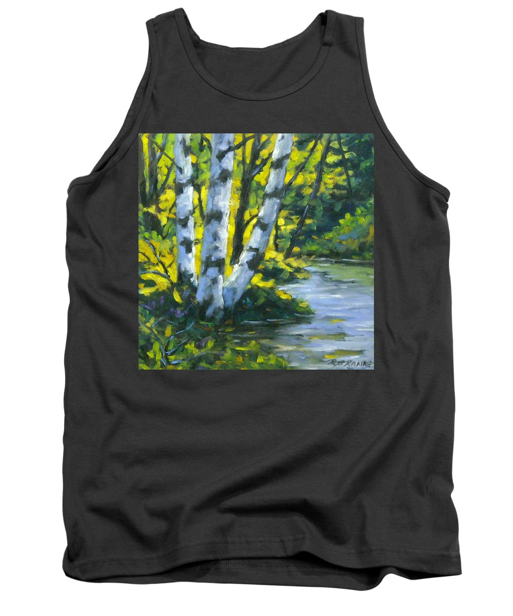 Art Tank Top featuring the painting By The River by Richard T Pranke