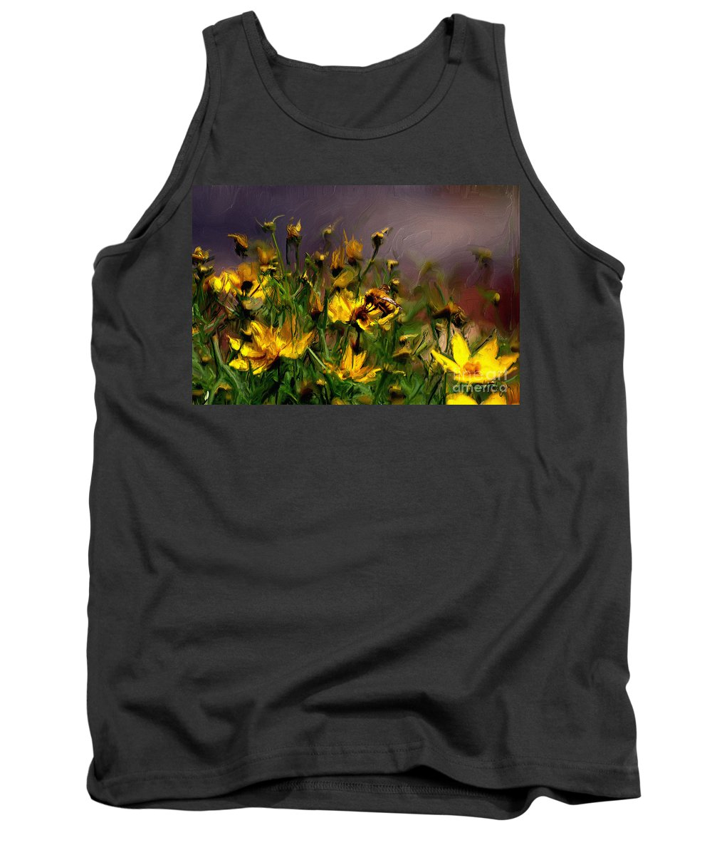 Floral Tank Top featuring the digital art Bzzzzz by Lois Bryan