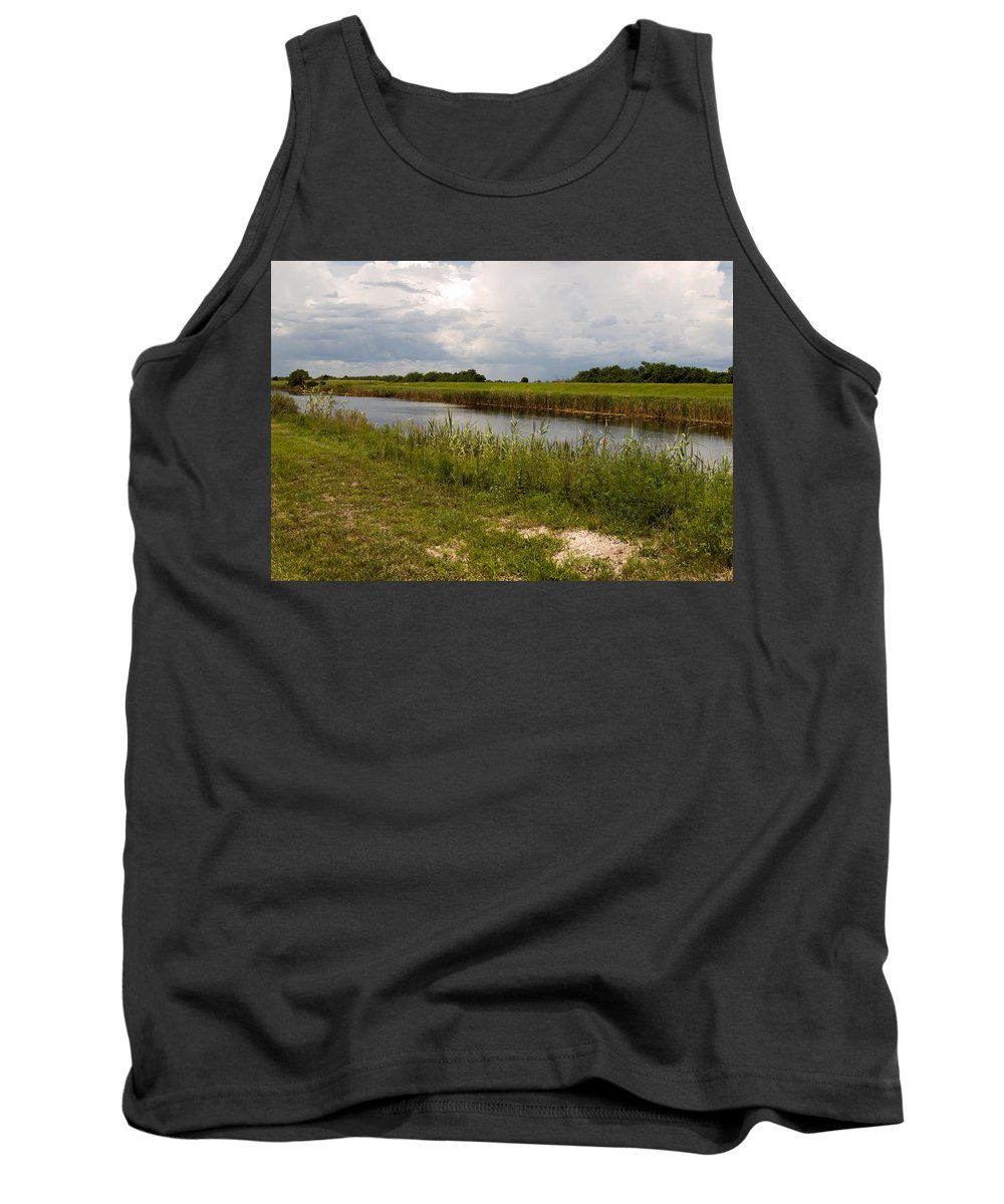 Florida; C54; Canal; Fellsmere; Sebastian; Grade; Drain; Draining; Water; Flow; Flowing; Indian; Riv Tank Top featuring the photograph C54 Canal In Florida by Allan Hughes